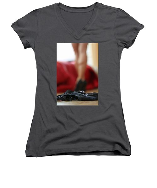Women's V-Neck T-Shirt (Junior Cut) featuring the pyrography What's Next? by Shoal Hollingsworth