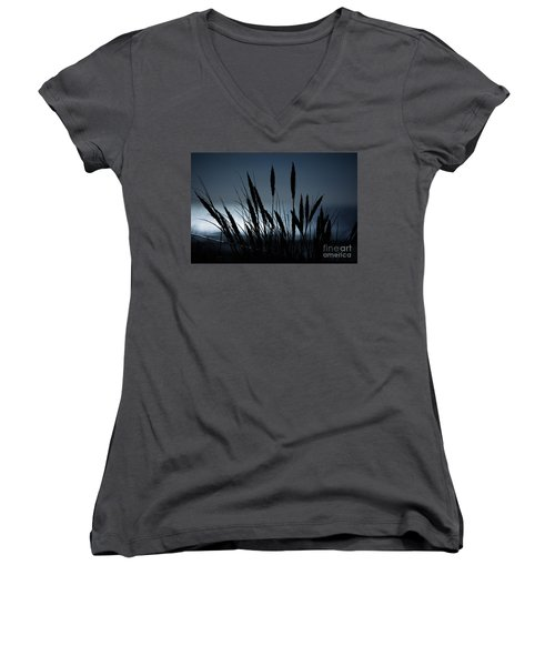 Wheat Stalks On A Dune At Moonlight Women's V-Neck T-Shirt