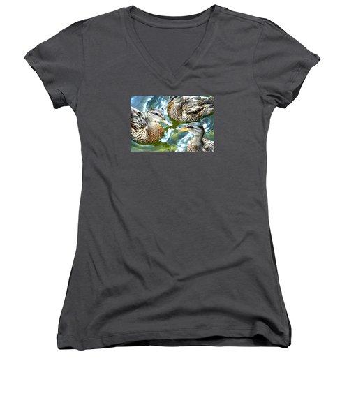 When Duck Bills Meet Women's V-Neck T-Shirt