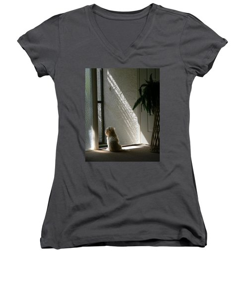 Women's V-Neck T-Shirt (Junior Cut) featuring the photograph Where's Dad by Rosalie Scanlon
