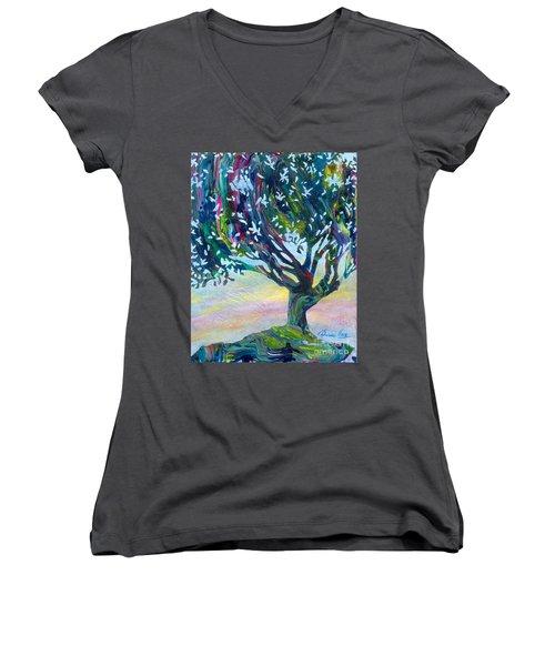 Whimsical Tree Pastel Sky Women's V-Neck T-Shirt (Junior Cut) by Denise Hoag