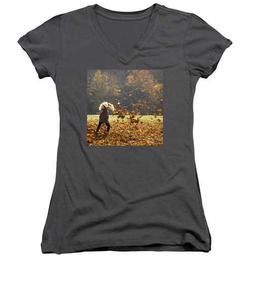 Women's V-Neck T-Shirt (Junior Cut) featuring the photograph Whirling With Leaves by Carol Lynn Coronios