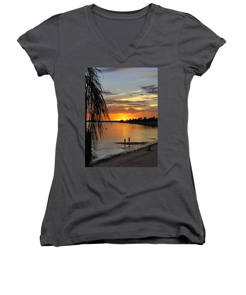 Women's V-Neck T-Shirt (Junior Cut) featuring the photograph Whiskey Joe's by Laurie Perry