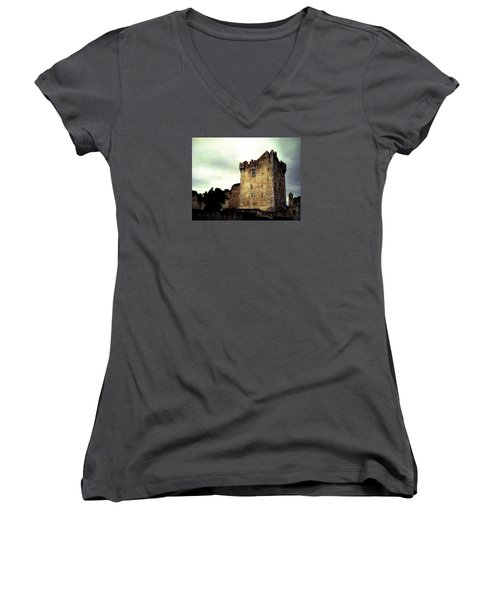 Whispers And Footsteps Women's V-Neck T-Shirt (Junior Cut) by Angela Davies