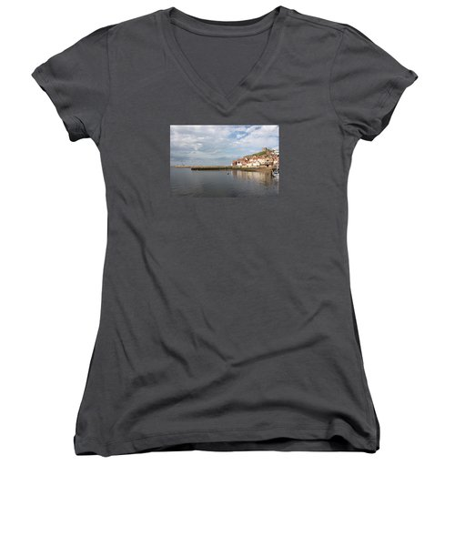 Women's V-Neck T-Shirt (Junior Cut) featuring the photograph Whitby Abbey N.e Yorkshire by Jean Walker