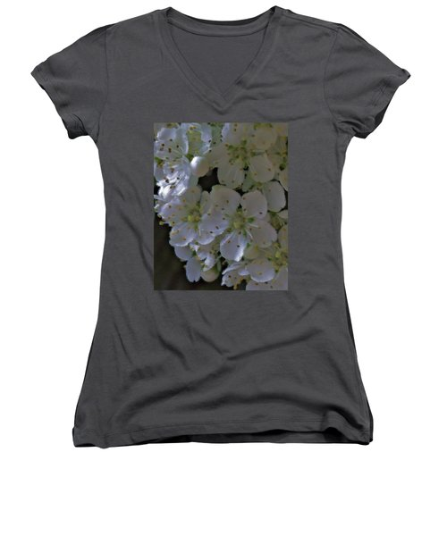White Blooms Women's V-Neck