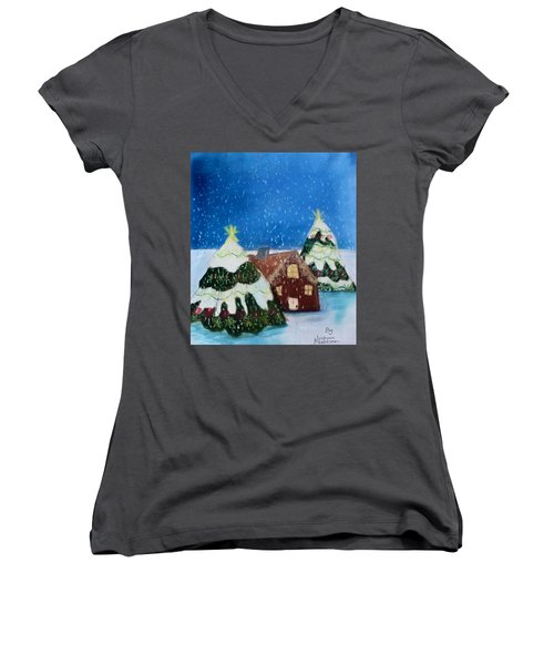 Christmasland Women's V-Neck T-Shirt (Junior Cut) by Joshua Maddison