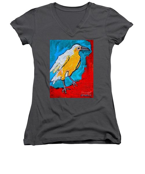 Women's V-Neck T-Shirt (Junior Cut) featuring the painting White Crow by Ana Maria Edulescu