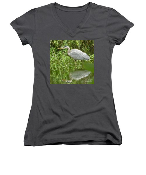 White Egret Double  Women's V-Neck T-Shirt (Junior Cut) by Susan Garren