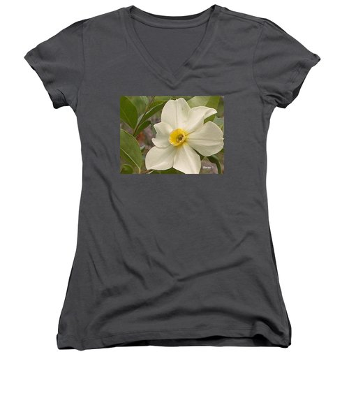 White Flower Women's V-Neck T-Shirt (Junior Cut)