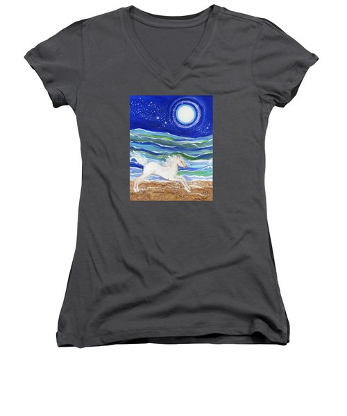 White Horse Of The Sea Women's V-Neck (Athletic Fit)