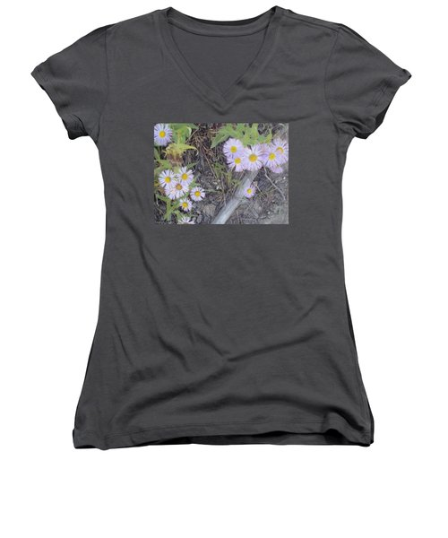 Women's V-Neck T-Shirt (Junior Cut) featuring the photograph White In The Wild by Fortunate Findings Shirley Dickerson