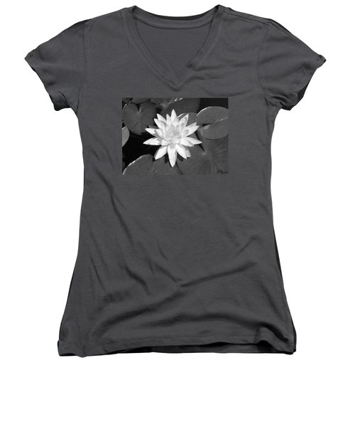 White Lotus 2 Women's V-Neck T-Shirt (Junior Cut)
