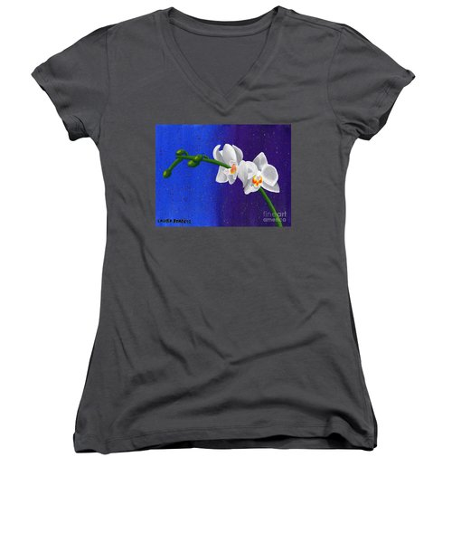Women's V-Neck T-Shirt (Junior Cut) featuring the painting White Orchids by Laura Forde