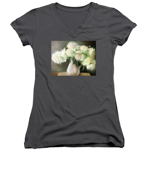 White Peonies Women's V-Neck (Athletic Fit)