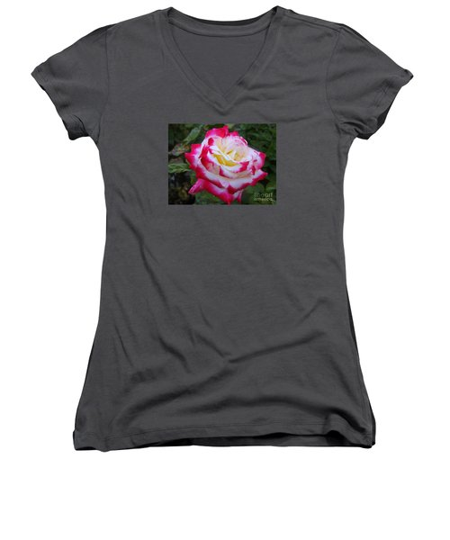 White Rose With Pink Texture Hybrid Women's V-Neck T-Shirt (Junior Cut) by Lingfai Leung
