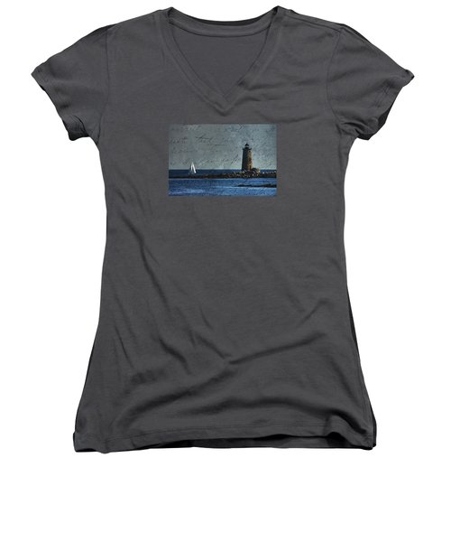 Women's V-Neck T-Shirt (Junior Cut) featuring the photograph White Sails On Blue  by Jeff Folger