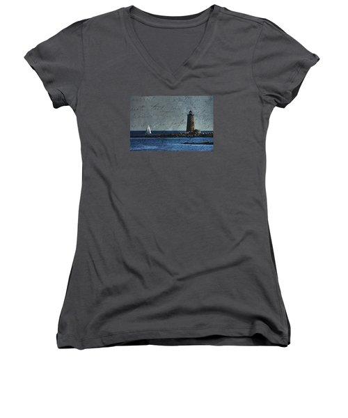 White Sails On Blue  Women's V-Neck T-Shirt (Junior Cut) by Jeff Folger