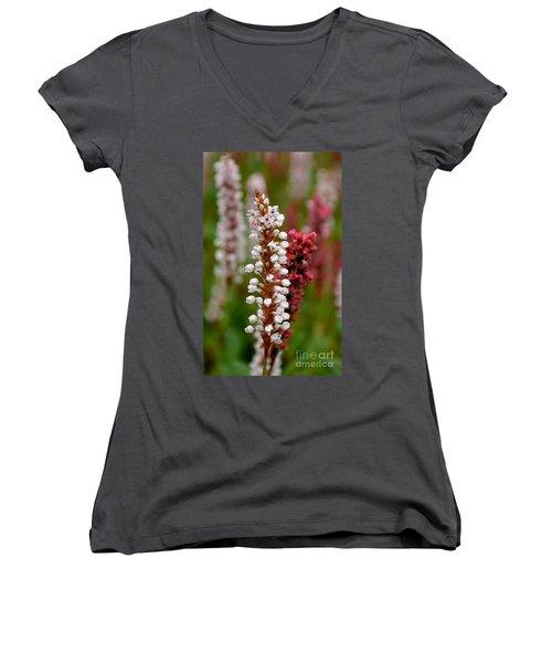 White Stalk Flower Women's V-Neck