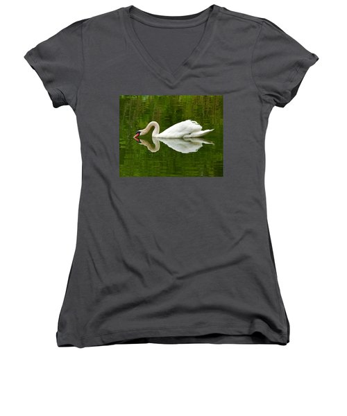 Women's V-Neck T-Shirt (Junior Cut) featuring the photograph Graceful White Swan Heart  by Jerry Cowart