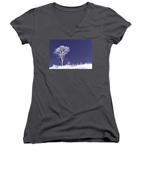 White Tree - Blue Sky - Silver Stars Women's V-Neck