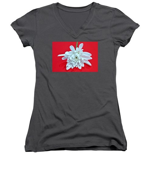 White Flower On Bright Red Background Women's V-Neck