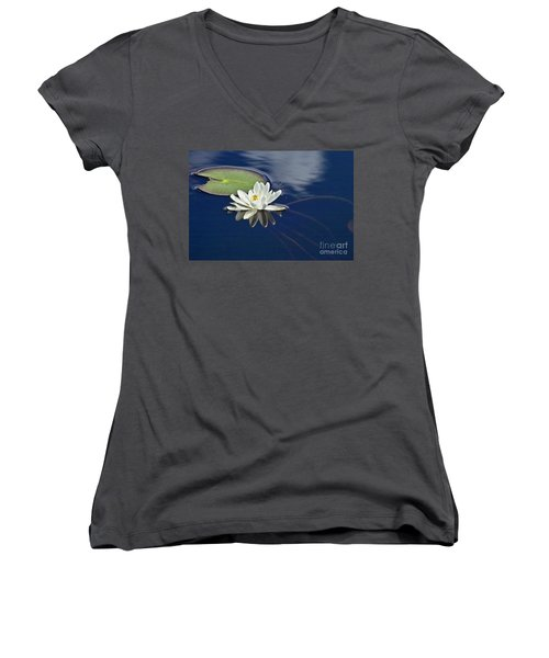 Women's V-Neck featuring the photograph White Water Lily by Heiko Koehrer-Wagner