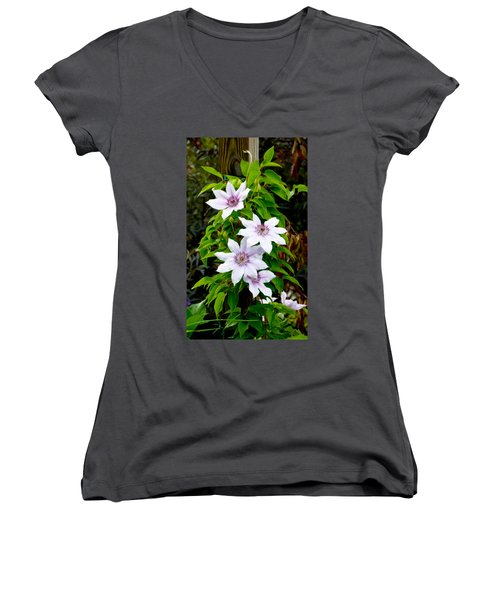 White With Purple Flowers 2 Women's V-Neck T-Shirt