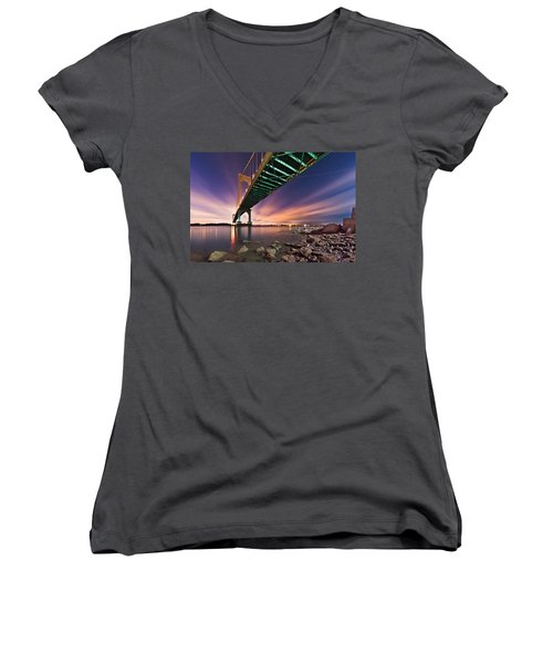 Whitestone Bridge Women's V-Neck T-Shirt (Junior Cut) by Mihai Andritoiu
