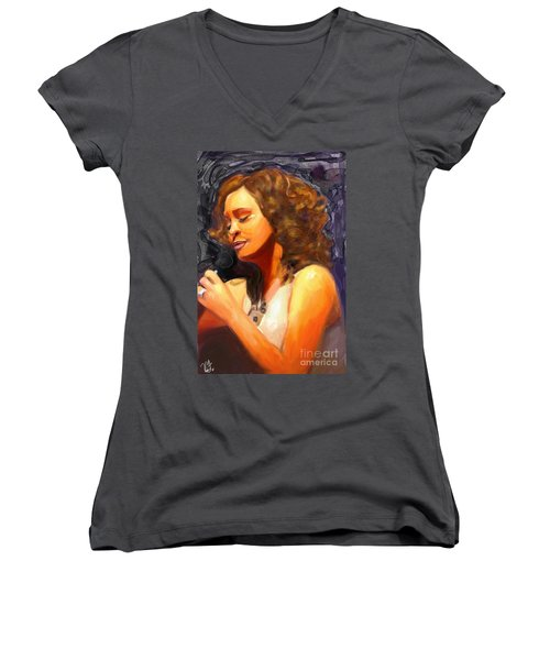 Women's V-Neck T-Shirt (Junior Cut) featuring the painting Whitney Gone Too Soon by Vannetta Ferguson