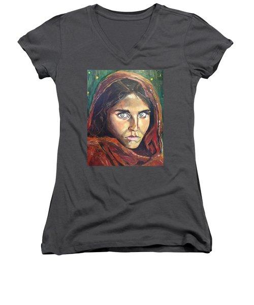 Who's That Girl? Women's V-Neck T-Shirt (Junior Cut) by Belinda Low
