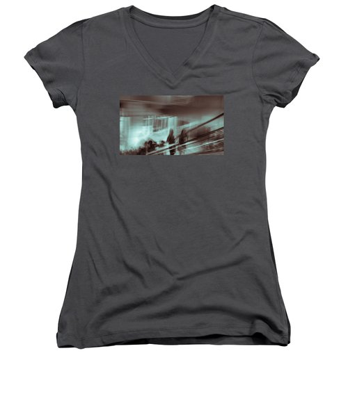 Women's V-Neck T-Shirt (Junior Cut) featuring the photograph Why Walk When You Can Ride by Alex Lapidus