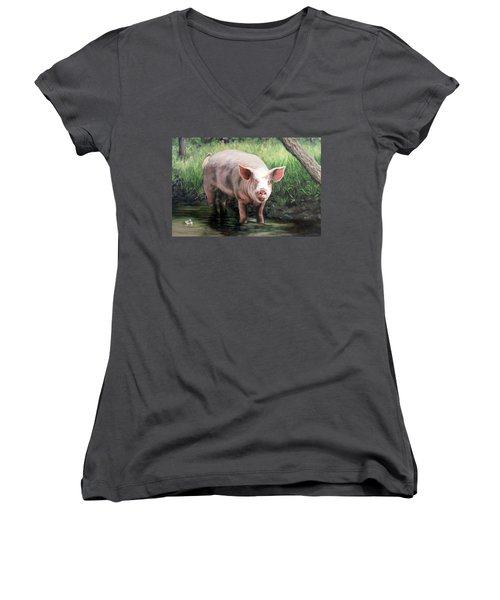 Women's V-Neck T-Shirt (Junior Cut) featuring the painting Wilbur In His Woods by Sandra Chase