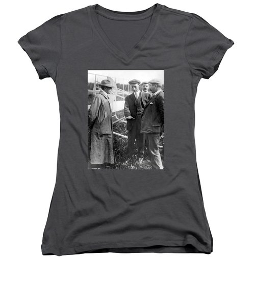 Women's V-Neck T-Shirt (Junior Cut) featuring the photograph Wilbur Wright, 1908 by Science Source