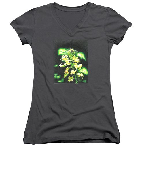 Women's V-Neck T-Shirt (Junior Cut) featuring the drawing Wild Flower by Troy Levesque