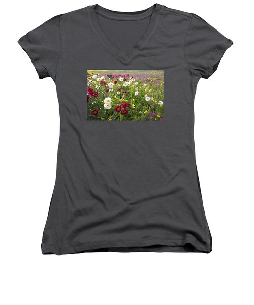 Wild Poppies South Texas Women's V-Neck T-Shirt (Junior Cut) by Susan Rovira