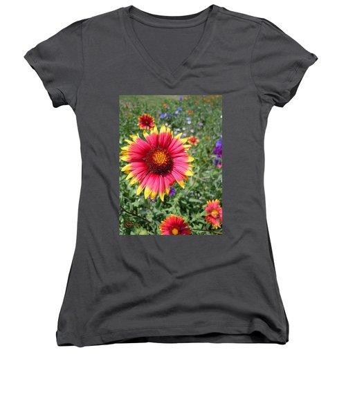 Women's V-Neck T-Shirt (Junior Cut) featuring the photograph Wild Red Daisy #1 by Robert ONeil