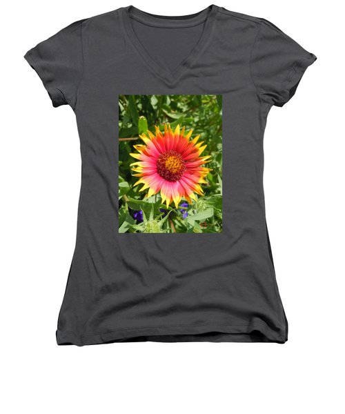 Women's V-Neck T-Shirt (Junior Cut) featuring the photograph Wild Red Daisy #3 by Robert ONeil