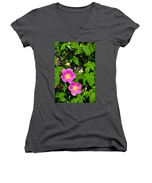 Women's V-Neck T-Shirt (Junior Cut) featuring the photograph Wild Roses by Cathy Mahnke
