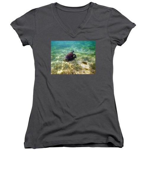 Women's V-Neck T-Shirt (Junior Cut) featuring the photograph Wild Sea Turtle Underwater by Eti Reid