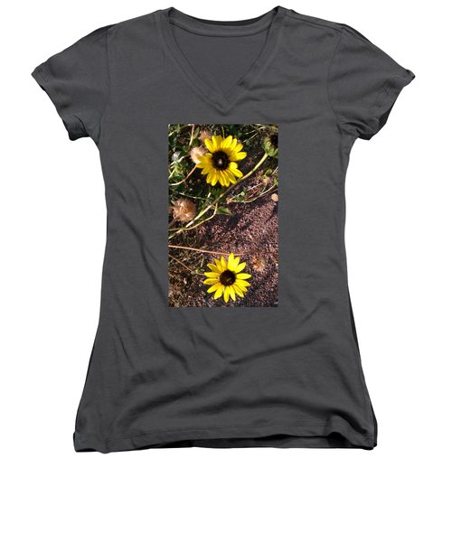Women's V-Neck T-Shirt (Junior Cut) featuring the photograph Wild Sunflowers by Fortunate Findings Shirley Dickerson