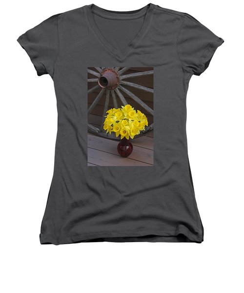 Women's V-Neck T-Shirt (Junior Cut) featuring the photograph Wild West Daffodils by Diane Alexander