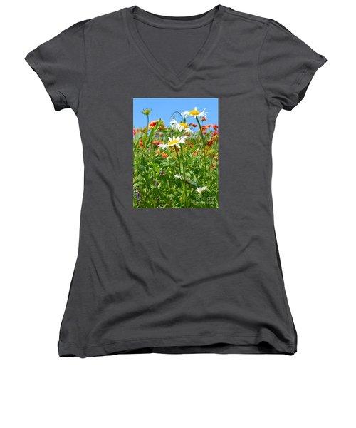 Women's V-Neck T-Shirt (Junior Cut) featuring the photograph Wild White Daisies #2 by Robert ONeil