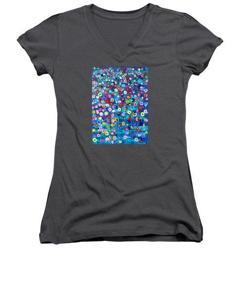 Women's V-Neck T-Shirt (Junior Cut) featuring the painting Wildflower Fiesta by Brenda Pressnall