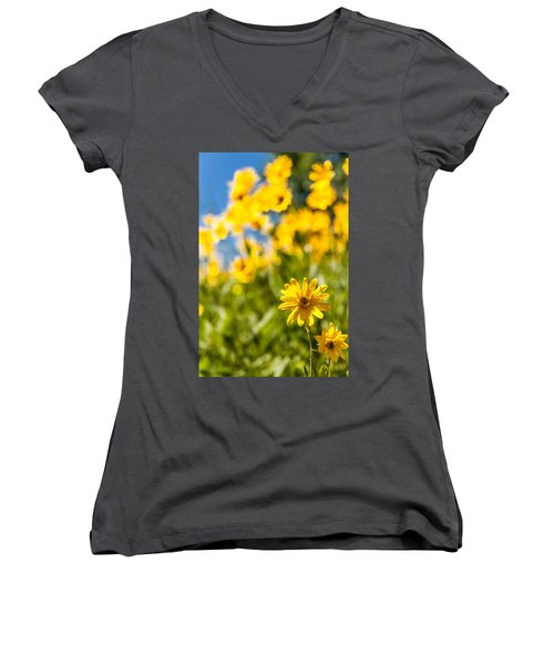 Wildflowers Standing Out Abstract Women's V-Neck T-Shirt