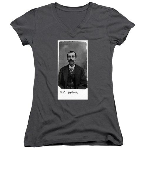 William Calvin Palmer Women's V-Neck T-Shirt (Junior Cut) by Karon Melillo DeVega
