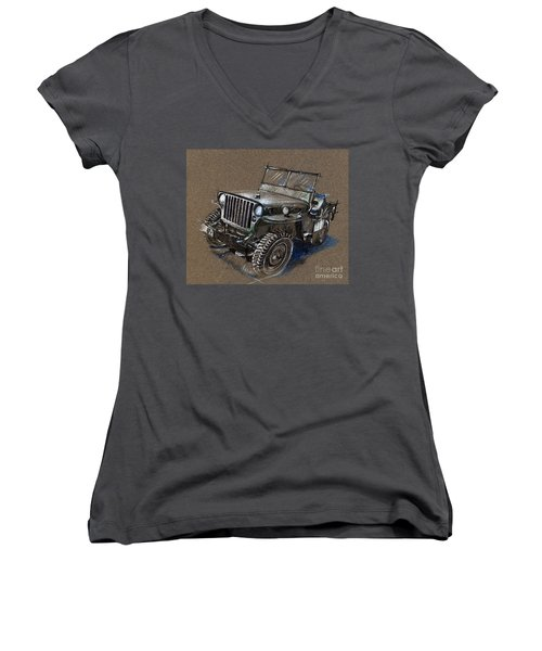 Willys Car Drawing Women's V-Neck