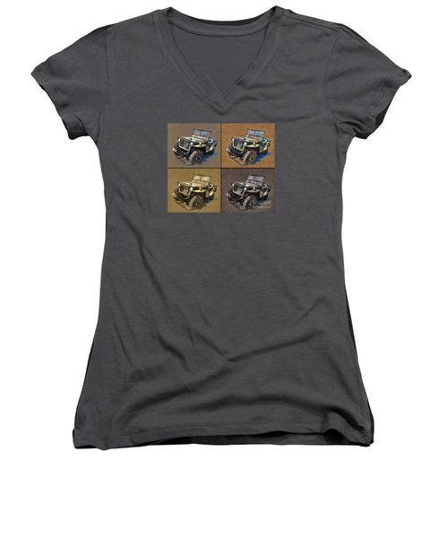 Willys Jeep Mb Car Drawing Women's V-Neck