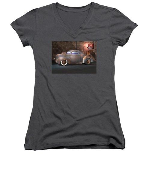Willys Street Rod Women's V-Neck T-Shirt