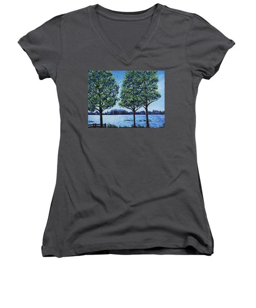 Wind In The Trees Women's V-Neck T-Shirt (Junior Cut) by Penny Birch-Williams